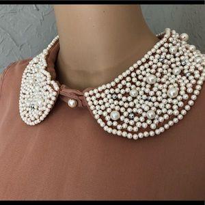 DizzyLizzy | Beaded Pearl Collar Sheer Blouse